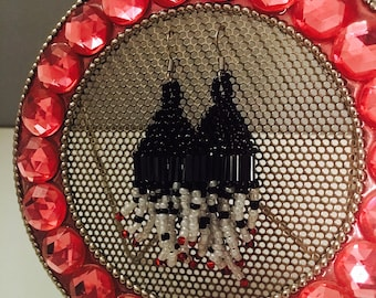 Black, White, and Red Beaded Earrings