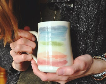 Rainbow Watercolor Mug - Handmade Ceramic Porcelain