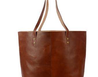 Carla Shopper, leather handbag light brown