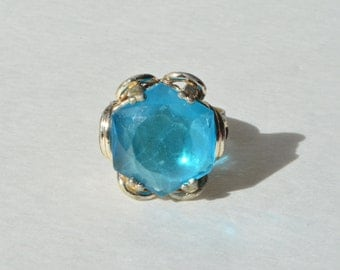 Vintage Faceted Blue Art Glass Sterling Silver Setting Brass Band Ring