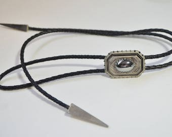 Vintage Southwest Cowboy Silver Black Hematite Braided Black leather Cord Bolo Tie Necklace