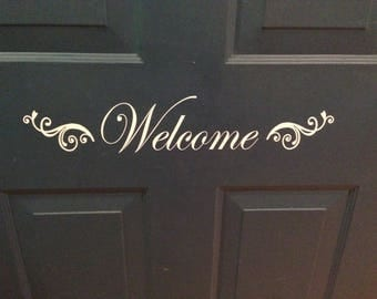 Front door decal, welcome sticker, Fancy Decorative Welcome, flourish swirl, outside decor