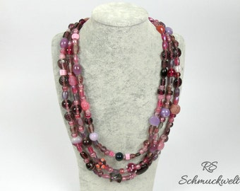 Necklace pink lilac purple beads more row opulent thick exceptionally 3-row mixed around square mother's day gift