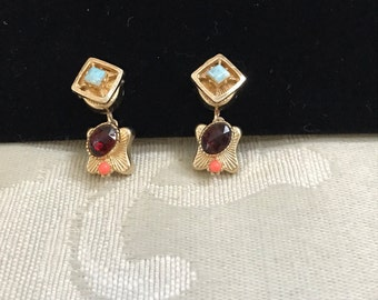 Vintage Screw Backs, Gold Earrings, Gemstone Earrings, Screw Back Earrings, Garnet Earrings, Vintage Earrings, Vintage Gemstones
