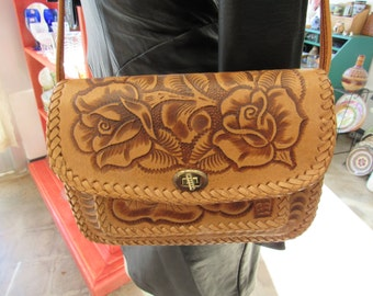 Vintage Southwestern Hand Tooled Mexican Leather Purse