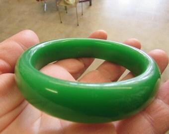 Vintage Green Jade  Bangle Bracelet