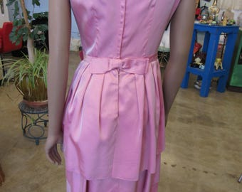 Pretty in Pink Formal Rayon Vintage Dress 36 Bust 26.5 Waist