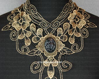 Art Nouveau necklace with delicate lace for the steampunk or Gothic Lady
