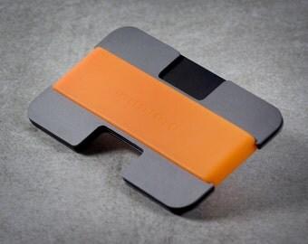 Minimo wallet | grey, black + orange | minimalist, slim wallet, card wallet, travel wallet
