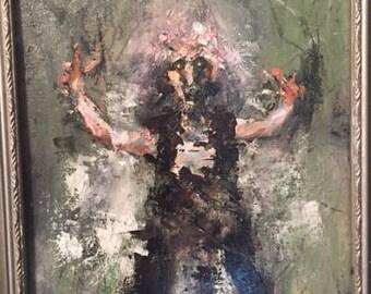 Original Oil Painting Witch Gothic Horror Impressionist modern art