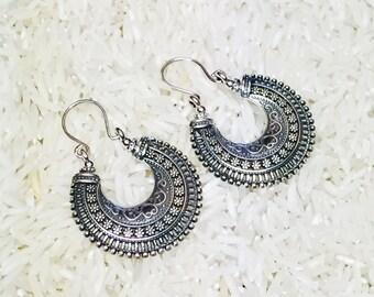 Tribal, ethnic, bohemian Sterling silver 925 hoop earring.