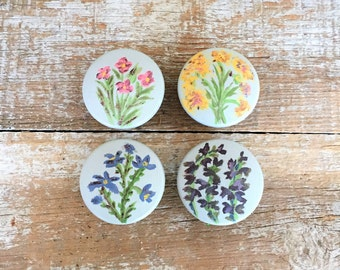 drawer pulls 4 drawer knobs hand painted wood drawer knobs flower drawer knobs cabinet door pulls - Decorative Drawer Knobs