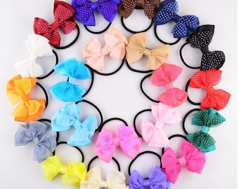 Fashion Colorful Girl Women Polka Dot Lace Bow Elastic Hair Tie Rope Ribbon String Ring Accessory -YTC07