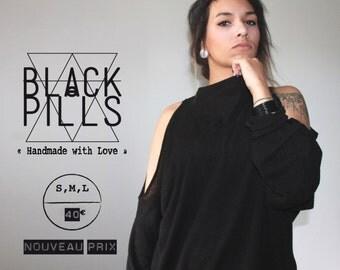 NEW PRICE! Sweater woman sleeves long peekaboo Black mesh