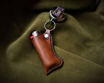 Leather Case Lighter, Pouch, brown, Anti-Lost Anti-Theft Super-Strong Retractable Steel Wrench Keychain skull pirate genuine leather