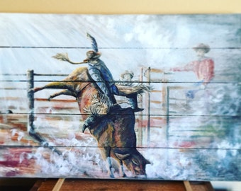Order Your Own Custom Piece- Bulls And Cowboys - Rodeo Art