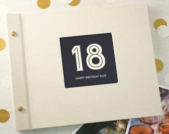 Personalised Typographic 18th Birthday Photo Album