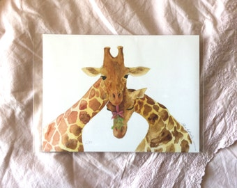SALE: Giraffes and Mistletoe High Quality Giclee Print A5