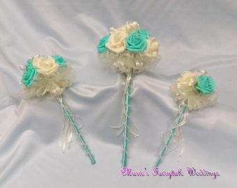Artificial Wedding Flowers Bridesmaid, Flower Girl Wand Bouquet in Aquamarine/Tiffany Blue Foam Roses with diamante