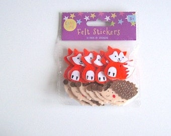 Felt shapes pack of 12 animal stickers foxes and hedgehogs