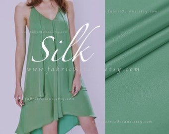 Green Silk Fabric by the yard solid green - achat tissu de soie pas cher