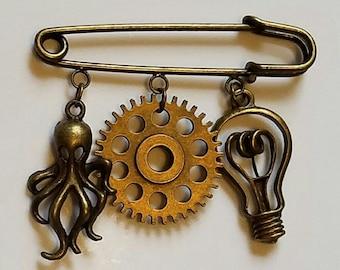 Bronze Steampunk Kilt Pin Steampunk cape frog Chthulu Kilt pin Chthulu capr frog gears Wear with steampunk goggles