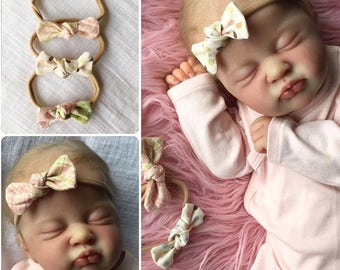 Cute spring set baby headband bow 4-set ~ Easter, springtime, sweet newborn, reborn toddler accessories