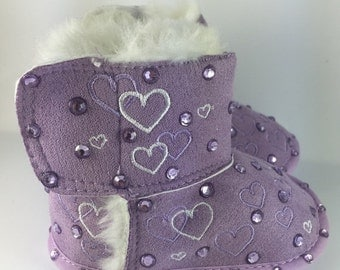 ON SALE Purple Lilac faux fur lined Baby Girl Winter Boots