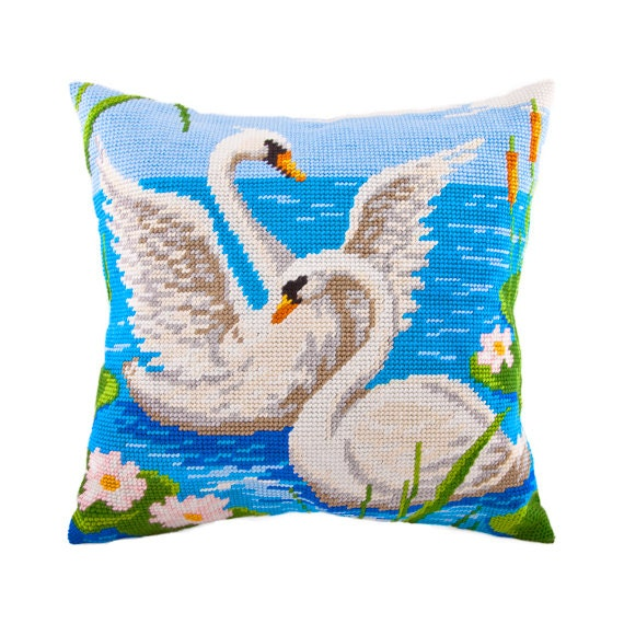 Modern Needlepoint Pillow Kits : Cross Stitch Kit, Swans Pillow, Size 16