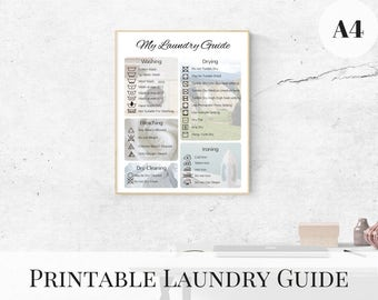 Laundry Guide, Printable Laundry Symbols, Laundry Room Decor, A4 Prints, Laundry Instructions, Washing Symbols, Printable Guide