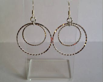 Silver Diamond Cut Hoops