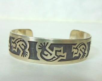 Vintage Estate Sterling Silver Zuni Navajo Design Cuff Bracelet 35.0g E870