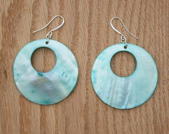 Turquoise shell earrings- Sterling silver