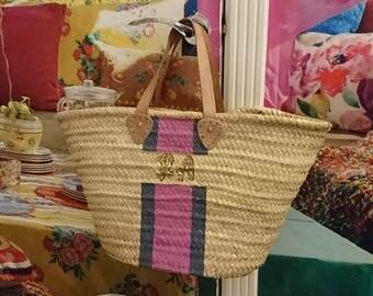 Monogram basket Monogram bag Personalised bag straw bag