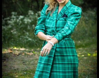 Size 5 Vintage Long Sleeve Wrap Dress Green Plaid