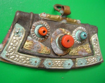 19th century Tibet leather flint case handmade turquoise,coral
