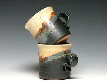 Pottery Mugs - Set of 2, Stoneware Mugs, Coffee Mugs, Ceramic Mugs, Hand Thrown Mugs