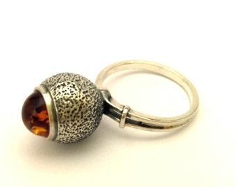 Amber Baltic Ring Vintage Cognac Color 3.96 Gr Sterling Silver 925