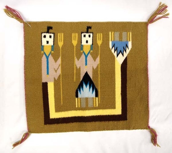 Antique Native American Navajo Wool Yei Rug Hand Woven