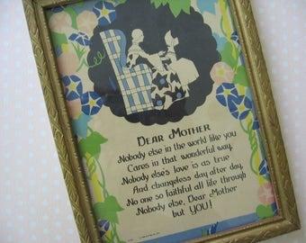 """Vintage Framed Poem """"Dear Mother"""", Gold Leaf 6"""" x 8"""" Wooden Frame, Pastel Floral Graphics of Mother and Daughter - 1930's"""