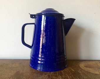 Speckled Blue Enamel Camp Pitcher with lid
