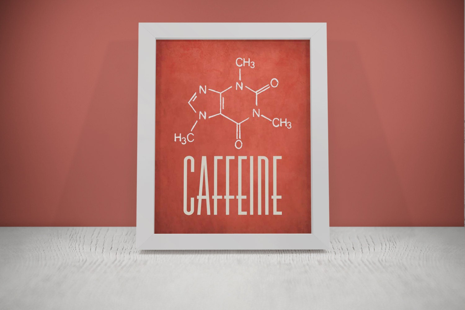 Red caffeine molecule postercoffee kitchen wall art kitchen for Red kitchen wall art