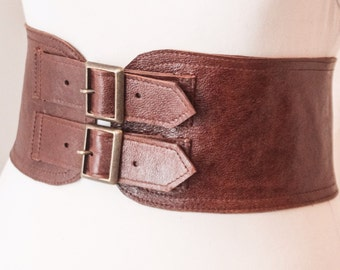 Brown Corset Leather Two Gold Buckle Belt | Brown Belt | Corset Waist Belt | Leather Buckle Belt | Brown Leather Buckle Belt