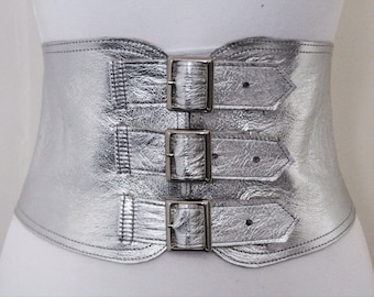 Silver Corset Leather Three Buckle Belt | Silver Waist Belt | Corset Wide Belt | Leather Buckle Belt | Buckle Belt | Plus Size