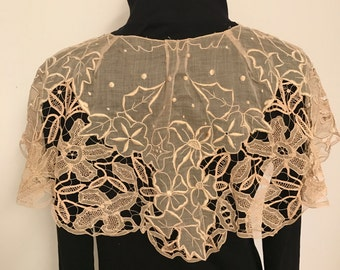 Antique Hand Embroidery and Lace Collar