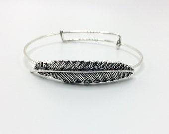 Feather Bracelet, Bangle Bracelet, Charm Bangle, Charm bracelet