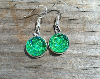 Green Druzy Dangle earrings, Flower earrings, Fishhook earrings, cabochon earrings, 12mm earrings, Gifts for her, Druzy Earrings