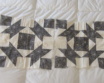 """Two Beautiful Antique Mourning Cloth Quilt Blocks 14"""""""