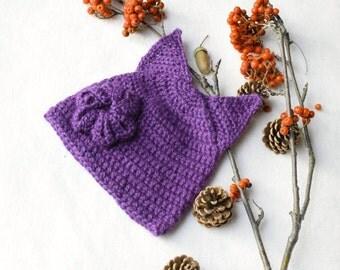 Baby crochet fox hat, violet crochet hat, animal hat, purple hat, girl hat,Baby Hat with Ears, Crochet Beanie Hat with Ears