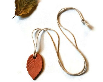 Clay leaf necklace, Simple pendant, rustic folk jewelry, nature jewellery, Mori girl accessories, Eco friendly present, natural gift for her